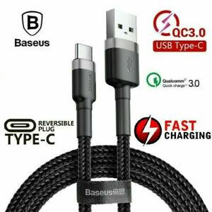 Genuine BASEUS USB TYPE-C Fast Charger Charging Data Sync Cable Cord Samsung