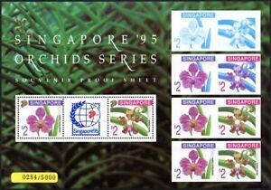 Singapore 1995 Souvenir Proof Sheet Orchids Flowers Blossoms Stamp Show MNH