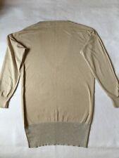Massimo Dutti Silk Sweater Sz M V Neck Classic Pullover Beige Gold Tunic Top