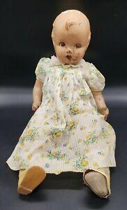 "VINTAGE 1940's HORSMAN 20"" ENCHANTED FLIRTY EYES COMPOSITION CREEPY BABY DOLL"