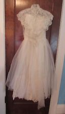 Vtg 50's Strapless Satin Wedding Gown Tulle Lace Ballerina Skirt Veil Exquisite