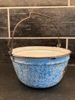 Vtg Blue & White Enamel Kettle Bucket Pail Spout Bail Handle Farmhouse Cottage