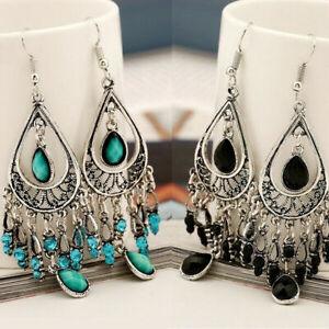 925 Silver Women Gemstone Tassel Ethnic Boho Dangle Drop Earrings Jewelry Gift