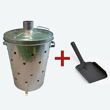 Garden Galvanised Incinerator Bin Waste Fire Burning 75 litre and Free Shovel