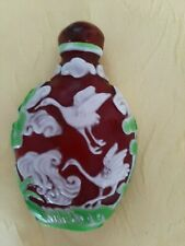 More details for chinese peking glass snuff bottle, decorated with crane's 3 colours glass