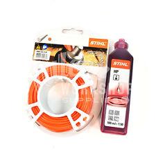Genuine Stihl Decespugliatore Filo 2.4mm x 86m Rotondo Arancione linea + uno scatto OLIO 100ml