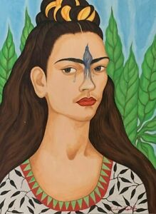 FRIDA KAHLO  PAINTING      SIGNED AND FRAMED  WATERCOLOR ON CARDBOARD