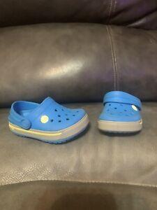 Crocs Crocband Clog Grey/Graphite Blue Relaxed Fit Children  Size 4 EUC