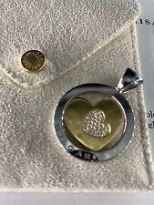 Auth BVLGARI 18KYG SS Pave Diamond Tondo Heart Necklace Top Pendant Charm