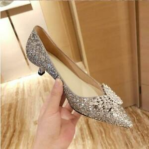 Womens Sexy Kitten Heels Sequins Rhinestones Bowknot Single Shoes Party Shoe New