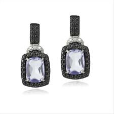 925 Silver 3ct Amethyst & Black Diamond Accent Rectangle Dangle Earrings