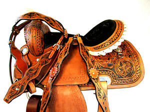 """LEATHER WESTERN CLASSIC HORSE SADDLE WORM SNAKE TOOLING CARVED 15"""" 16"""" TRAIL"""
