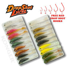 10pcs Drop Shot Fishing Soft Lure Set 5cm Perch Pike Bait Free Red Hook Jig Head