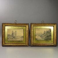 Miniature 18th Century Pair Watercolour Painting British Welsh Folk Art Georgian