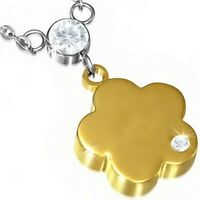 Stainless Steel Silver Yellow Gold Flower Floral White Crystals Pendant Necklace