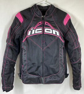 Icon CONTRA Pink Black Armored Motorcycle Zip Out Liner Jacket Women's Sz Small