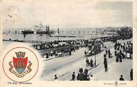 POSTCARD  MORECAMBE - THE BAY & PIER - TOWN ARMS  - Circa 1906