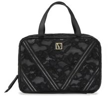 Victoria Secret Hanging Everything Travel Case Cosmetic Bag Clear Black Lace Nwt