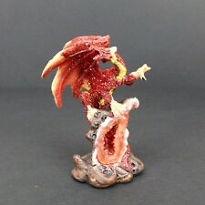Red Dragon on Geode Statue Mythical Fantasy Small Dragon Figurine