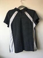 Chico's Zenergy Golf Black/White  Polka dot Polo Shirt Size 2 (Medium)