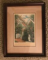 "The Picket Fence Framed and Matted Print Picture 13"" x 10"" Vintage Wallhanging"