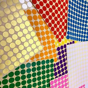 Sheets Any Size Coloured Dot Stickers Round Spot Circles Dots Paper Label Coding