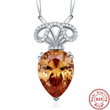 13.1CT AAA Morganite 100% S925 Sterling Silver Pear Cut Pendant Chain Necklace