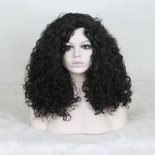 ladies Fashion wig Charm Women's Black Curly Natural Hair Full wigs +a wig cap