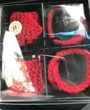 UGG Classic Cable Knit Red NAPKIN RINGS Lava Set of 4  NEW!