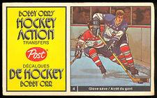1972 73 POST HOCKEY ACTION TRANSFERS BOBBY ORR #4 jim mckenny vs ed giacomin EX+