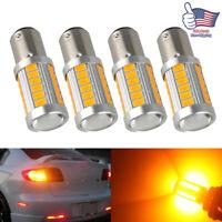 4x Amber 1157 LED Bulbs BAY15D 33SMD Turn Tail Brake Stop Backup Signal Light