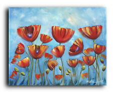 ORIGINAL PAINTING  Poppies Flowers Landscape Garden Contemporary Abstract Modern
