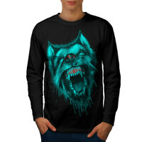 Wellcoda Werewolf Wolf Fear Mens Long Sleeve T-shirt, Scary Graphic Design