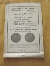 VINTAGE OLD SCOTT STAMP & COIN CO RARE US EARLY COINS PRICE LIST
