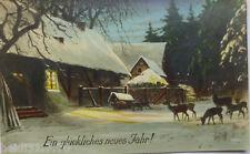 """""""Neujahr, Winterlandschaft, Haus, Rehe"""" 1925 ♥ (10363)"""
