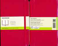 Moleskine Scarlet Red Large Plain softcover Notebook NEW 13 x 21 cm