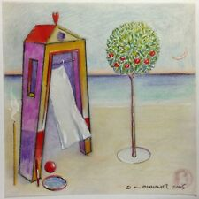 """Dimitris C. Milionis  """"AEGEAN HOME WITH TREE""""  Signed Colored Drawing Greek 2005"""