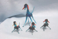 MINIATURE FIGURINES (4) Glass Vintage Collectible Blue Goat & 3 Kids Figurines