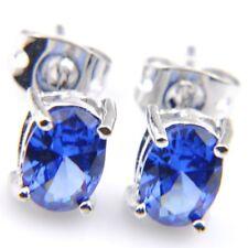 Elegant Woman Swiss London Blue Topaz Gemstone Silver Stud Hook Earrings