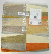 "Surya Oasis 100% Wool Square Area Rug Orange Grey Modern  FT-580 1'6"" x 1'x6"""