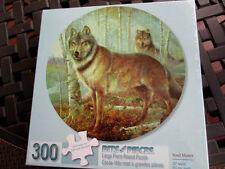 """300 Piece Large Format 20"""" Round  Puzzle """"Soul Mates"""" Wolves"""