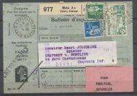 1936 Bulletin d'expédition , Fiscal 50c + 1f80 Paix +2f rivière bretonne P3753