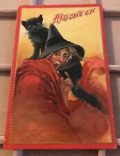 Antique Halloween Post Card-Embossed-Witch Black Cat Halloween By Tucks