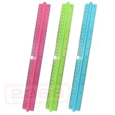 Lot 3 12 Inch Ruler with Handle Grip (Pink、Blue、Green)