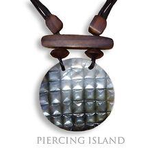 Halskette Anhänger Kette Maori Holz Muschel Handarbeit Design N084
