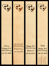 Personalised 3rd Wedding Anniversary Leather Bookmark Double Heart Design
