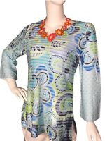 Whimsy Rose sz LARGE (L) Floral 3/4 Bell-Sleeve V-Neck Women's Tunic Top