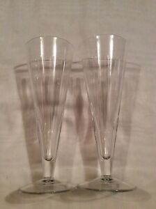 A PAIR WATERFORD CRYSTAL 'SHINE' TALL WINE GLASSES BY JASPER CONRAN 24cm