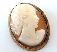 c.1950s Vintage GILT METAL SHELL CAMEO Miniature Oval BROOCH 28mm Gold