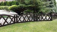 Plastic Garden Fence Panels Boarder Lawn Palisade Edge Patio Fencing BROWN BJNEW